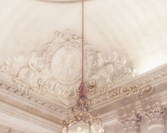 Chandelier Photo, France Architecture, Paris Photography, White And Gold Decor, Romantic Art, Dusty Rose Decor, Feminine Art, Interior Art