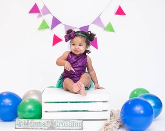 First Birthday Mermaid Tulle Romper, Baby Girl Clothing, Cake Smash Mermaid Sequin Romper, Girl First Birthday, Tulle Sequin, Mermaid Romper