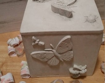 White Plaster Relief, Garden Insects-Dragonflies Butterflies,Scarab Beetle Lady Bug Grasshopper, Memory Box RoadSideBoutique Mary Lynn Savko