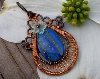 Copper Wire Wrapped Pendant-Flourite-Rainbow Calcilica-Sterling Silver-Wire Weave Pendant-Free Shipping(United States only)