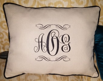 Monogrammed Linen Pillow Cover, Rectangular or  Square, White or Cream w/ Matching Cording & Invisible Zipper