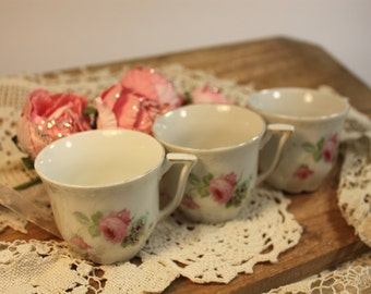 3 Little shabby chic tea cups,cottage chic,tea party,vintage wedding,bridal tea party,childs tea party,shower gifts,