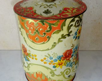Vintage Biscuit Tin Orange Gold Round England Murray Allen Regal Crown