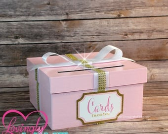 Card Holder Box With Sign In Baby Pink Gold U0026 White   Gift Money Box For
