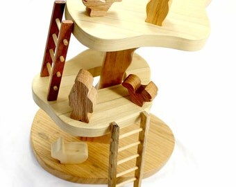 Kids Pretend Play Set, Play Stage, Natural Wood Play Tree, Critters, Forest Animal Toys, Gnome, Troll Toys, Imaginative Play, Waldorf Play