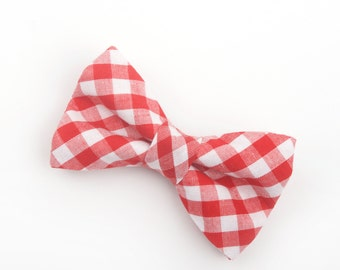 Red Gingham Bow Tie, red check bow tie, red plaid bow tie, boy's red bow tie, men's red bow tie, red and white bow tie, christmas bow tie