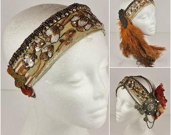 Vintage Headdress Base- Brown and Orange Floral Sari Trim Headpiece for Tribal Fusion, Boho, Festivals, or Wedding