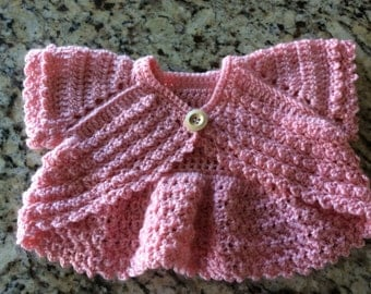 Baby/Girl crochet bolero sweater, shrug, medium pink,soft quality yarns,sizes newborn up to girls 6,many colors,very detailed, FREE USA ship