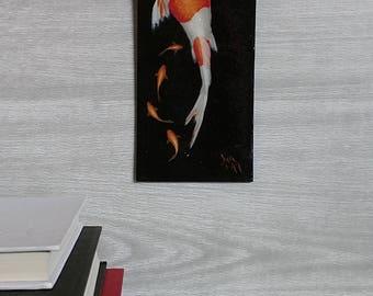 Koi Fish Painting - White and Orange- Wall Art - Painted Fish - Black Background Painting - Swimming - Realistic Painting - Zen - Goldfish