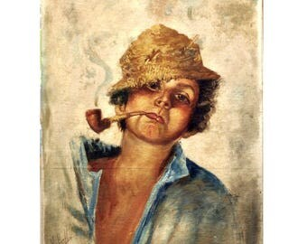 1950's European Oil Painting - Portrait of Young Man with Pipe - Vintage Oil Painting