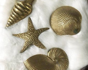 Vintage Brass Seashell Wall Hanging Collection / 4 Brass Seashells