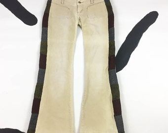 90s Low Rise Corduroy Patched Side Grunge Babe Pants / Hippie / Front Pockets / Patchwork / Flares / Bell Bottoms / Pauly Shore / Festival /