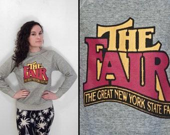 The FAIR Sweatshirt 1980s Great NYS Fair Heather Grey Raglan Size XS / Small