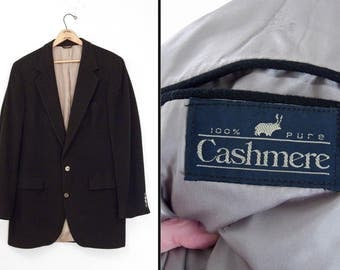 Black CASHMERE Sport Coat 1990s by Wallachs 3 Pockets 2 Buttons Size 44 Long Suit Jacket