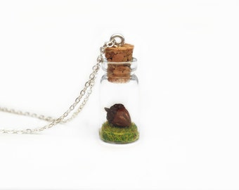 Acorn Necklace, Bottle Nature Gift, miniature woodland bottle necklace, terrarium necklace, Woodland Gift, Nature Jewellery