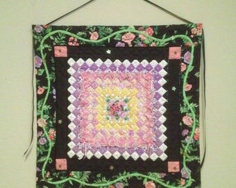 Hand Quilted Embellished Black Pink Purple Hand Quilted Wall Hanging