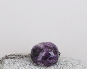 Tumbled Amethyst Necklace, Soldered Necklace, Raw Geode Necklace