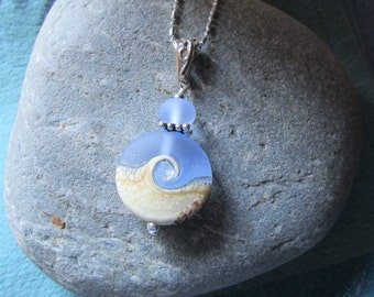 Larger Wave Necklace - Periwinkle Blue Wave with Cream Artisan Bead on Sterling Chain, Casual Necklace, Beach Ocean Lovers Necklace, Gift