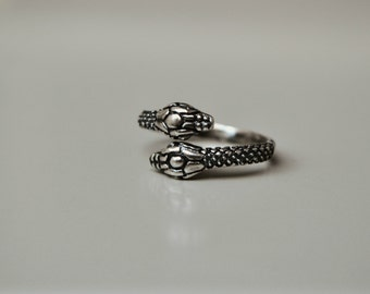 Snake Ring Sterling Silver Ouroboros Serpent Ring, Twin Snake Jewelry for Men and Women Wrap Thumb Ring