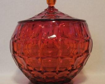 Tiara Sunset Red Constellation Cookie Jar with Lid, Orange/Red, Block Panel Design