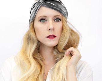 Velvet Twist Headband, Turban Headband Silver Adult Headband Gray Womens Headband Winter Headband, Adult Headband, Womens Gift for Her
