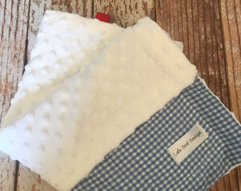 Baby Blanket  - Minky Baby Blanket - Blue Gingham - Wizard of Oz - Dorothy - READY TO SHIP