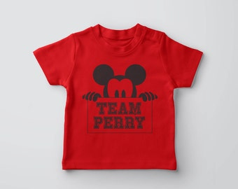 """A set of Mickey """"team"""" family t-shirts"""