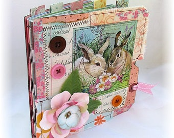 Photo Album, Smash Book, Scrapbook, Shabby Chic Bunnies