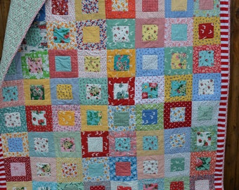 Handmade Modern Quilt with Vintage Retro Cottage Chic Folk Art Shabby Elegance Fabrics Thirties Reproduction Mid Century Modern Twin Quilt