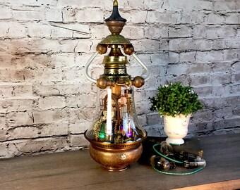 Steampunk Lamp Assemblage Art Sculpture