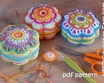 Crochet pattern PINCUSHION  'flower' by ATERGcrochet