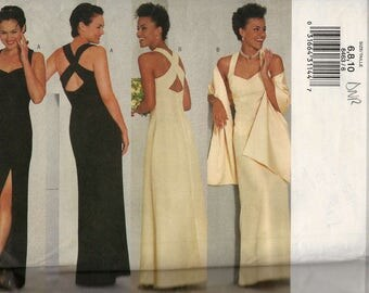 Butterick 6463 Fitted long dress sweetheart neckline back crossover straps straight or a-line skirt and wrap Size 6-8-10 (uncut)