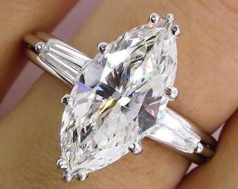1930..Vintage 3.68ct Classic Marquise Diamond Three Stone Engagement Wedding Platinum Ring