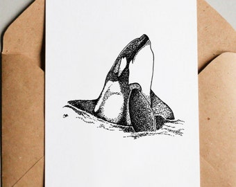 Printable Orca Original Artwork, Choose size 5x7, 8x10 or 10x14 - Instant Download