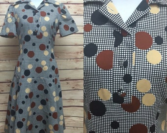 Mod Polka Dot Black White Check Dropped Shirt Waist Dress 60s Medium