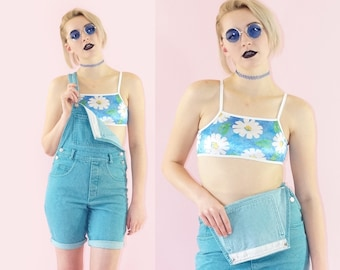 Plush Velvet 90s Daisies Bandeau Bralette Top, 90s Floral Belly Shirt, 90s Deadstock Swim Top, Women's Size X-Small/Small