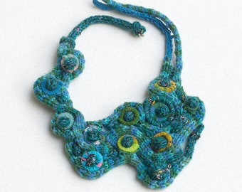 Blue bib necklace, rustic fiber jewelry with bamboo and textile beads, knitted statement necklace, OOAK