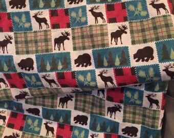 Elk, Moose, Bear, Reindeer, Plaid, Receiving Blanket, Baby Blanket, Reversible Blanket, Flannel, Rustic