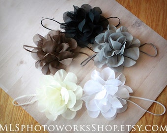 Free Shipping - Earth Tones Baby Girl Flower Headbands - Natural Colored Bows in Black, Brown, Gray, Ivory & White - Newborn Gift Set