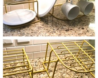 Vintage 1950s Bright Sunny Yellow Shabby Two Tier Dish Rack Kitchen Cabinet Storage Open Shelving Farmhouse Kitchen Drying Rack Cottage Chic