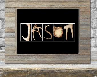 Name Art - Personalized Gift For Him - Free Shipping - Gifts For Dad - Framed  Name Art - Antler Letters - Hunters Gift - Home Decor Cabin