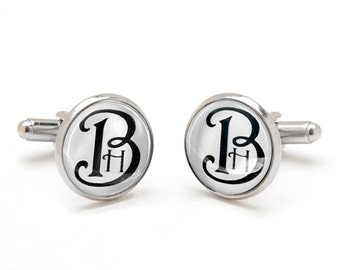 Father's Day Gift - Gift for Dad - Monogrammed Cufflinks - Personalized Gifts for Groom Best Man and Groomsmen - Cufflinks for Men and Women
