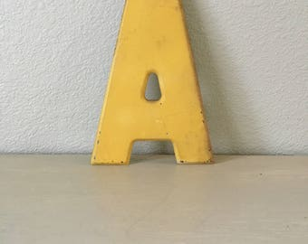 "Vintage Letter A / Chippy Yellow Metal / Marquee / Industrial Sign / 10"" Tall / Alphabet Letter / Wedding Sign Display / Home Decor"