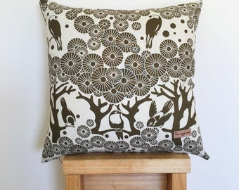 Mikko Square - Screen printed Mikko and Eco Denim cushion cover - Forest Green.