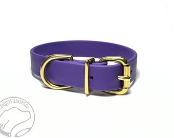 "Biothane Dog Collar / Royal Purple 1"" (25mm) Wide - Leather Look and Feel - Buckle Tag Dog Collar - Your Choice of size and hardware type"