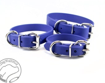 """Royal Blue Biothane Dog Collar - 5/8"""" (16mm) - Leather Look and Feel - Custom Sized - Solid Brass or Stainless Steel Hardware"""