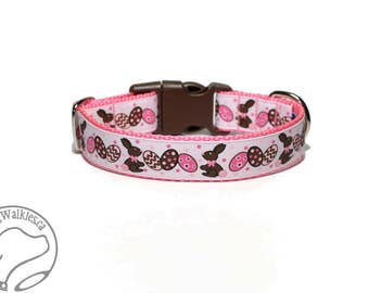 "Chocolate Rabbits Easter Dog Collar // 1"" (25mm) wide // Quick Release or Martingale Dog Collar // Choice of collar style and size"