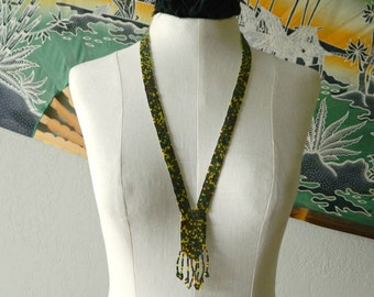 Vintage Handmade Earthy Native American Style Beaded Necklace with Tassel Fringe- First Nations Green Yellow Brown Hippie Boho Rustic