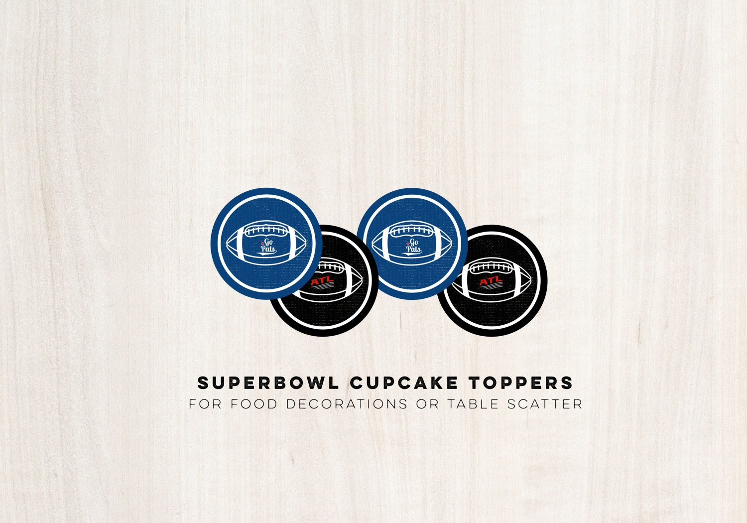 Super Bowl Cupcake Toppers - Circle Decals - Gameday Football Party - INSTANT DOWNLOAD