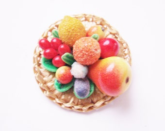 Vintage Colorful West Germany Fruit Salad Woven Straw Brooch Pin / Carmen Miranda Style / Mid Century / Tutti Fruity / Jewelry / Jewellery